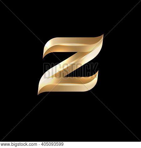 Z Letter Logo. Z Monogram. Lettering. Volume Gold Z Letter With Facets. Royal, Luxury Style.