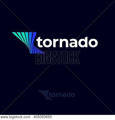 Tornado Logo. Twisted Shapes Like Vortex And White Letters. Blue Tornado Emblems. Monochrome Option.