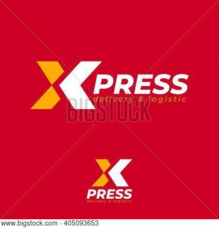 X-press Logo (express Logo). Logistic And Delivery Company Emblem. X Monogram With Arrow.