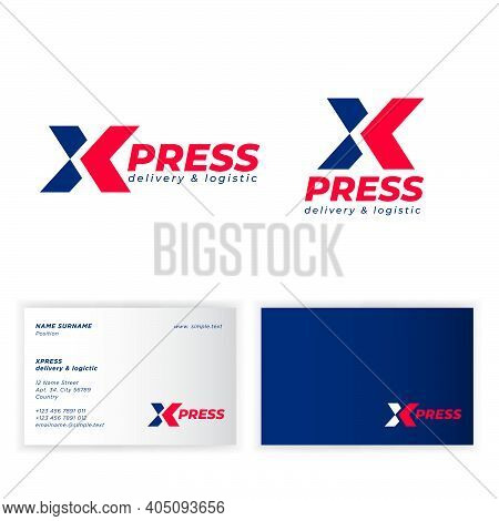 X-press Logo (express Logo). Logistic And Delivery Company Emblem. X Monogram With Arrow. Business C