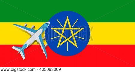 Vector Illustration Of A Passenger Plane Flying Over The Flag Of Ethiopia. The Concept Of Tourism An