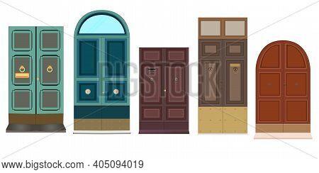 Decorative Doorway And Various Retro Doors. Vector Clip Art Set Of Doors For The Home. Illustration