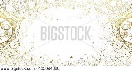 White Magic Background With Sleeping Golden Sun With Face, Space Decor With Copy Space And Stars. La