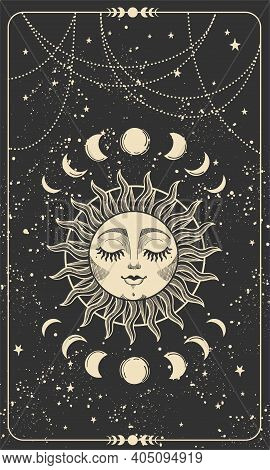 Tarot Card With Sun With Face, Moon Phases And Stars. Magic Card, Bohemian Design, Tattoo, Engraving