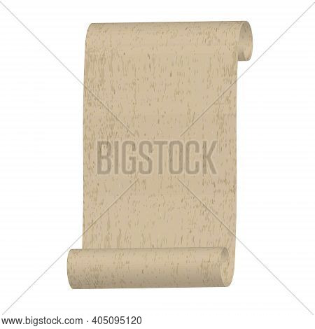 Old Rolled Paper Manuscript Or Papyrus Scroll Vertically Oriented, Vintage Grunge Rolled Parchment I