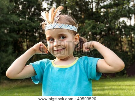 Young Girl Playing At Strong Indian