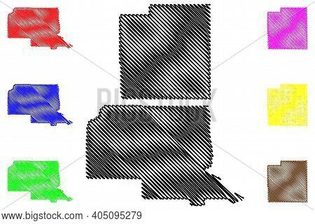 Rio Arriba And Luna County, New Mexico (u.s. County, United States Of America, Usa, U.s., Us) Map Ve