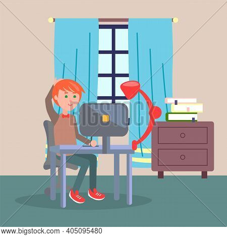 Programmer Man Sitting At Table And Using Computer. Quarantine Distance Work. Freelance Work At Home