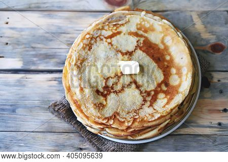 Soft Focus. A Stack Of Pancakes On A Plate. Pancake Week.