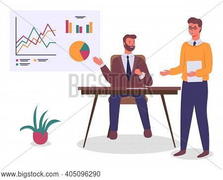 Businesspeople, Office Workers Sitting At Table And Working At Project, Plan, Colleagues Looking At