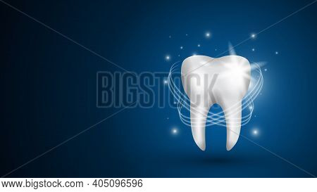 Realistic Model Of A Healthy Tooth On A Blue Background. Teeth Whitening Concept With Glowing Effect