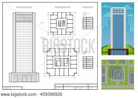 Architectural Project, Modern Project Of Building. Wireframe Building Illustration Of Architecture