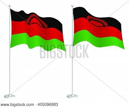 Flag Of Republic Of Malawi On Flagpole Waving In Wind. Holiday Design Element. Checkpoint For Map Sy