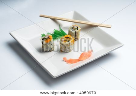 Square Plate Of Sushi Isolated On White