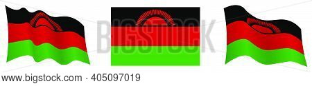 Flag Of Republic Of Malawi In Static Position And In Motion, Fluttering In Wind In Exact Colors And