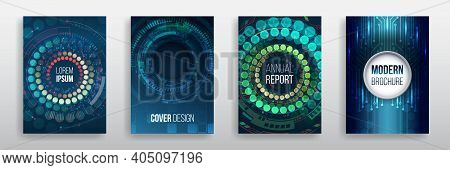 Vector Template For Brochure Or Cover With Hi-tech Elements Background. Blue Layout Futuristic Broch