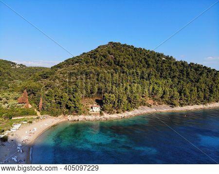 Korcula Island, Croatia - Drone View Of Beach In Pupnatska Luka.