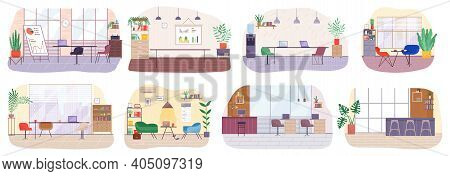 Workplace In Office Set. Cabinet With Creative Workspace. Furniture And Equipment For The Workplace