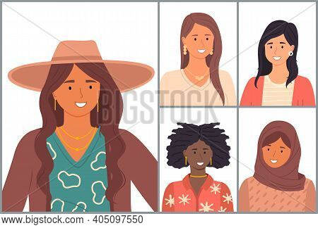 International Nationality Women Avatars. Young Girls Difference Culture. Diverse Nations, Ethnicity.