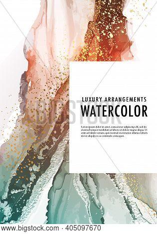 Watercolor Alcohol Ink Liquid Flow, Pouring Art Vector Shape. Contrast Gradient Oange Turquoise Grap