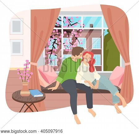 Couple Sitting On Windowsill At Home In The Living Room Interior Near Big Window With Spring Citysca