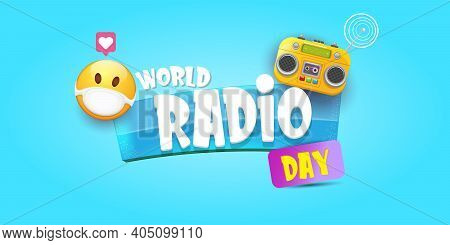 World Radio Day Horizontal Banner With Vintage Old Orange Cassette Stereo Player Isolated On Blue Ba