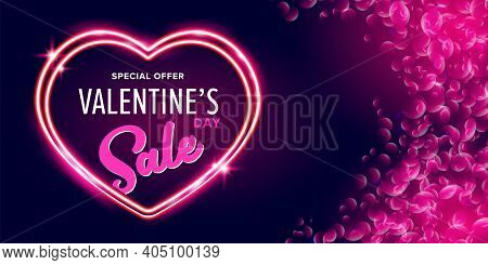 Valentines Day Sale Horizontal Banner With Pink Neon Heart And Glowing Pink Petals Isolated On Backg