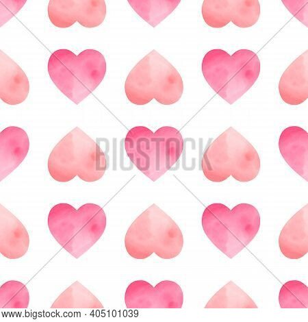 Seamless Pattern With Watercolor Hearts. Hand Drawn Illustration. A Cute, Delicate Print For Valenti