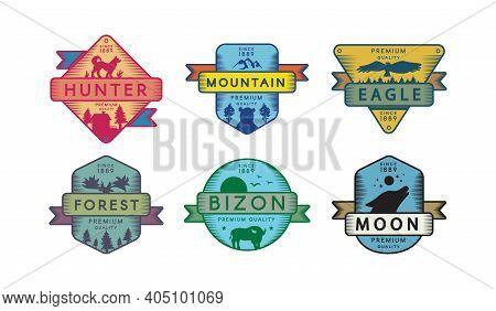 Assortment Badges Animals And Nature Set Logo