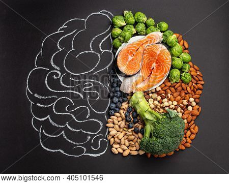 Chalk Hand Drawn Brain With Assorted Food, Food For Brain Health And Good Memory: Fresh Salmon Fish,