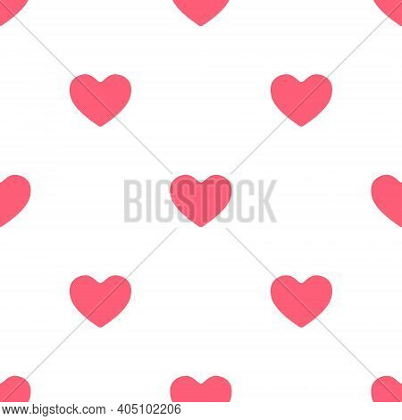 Seamless Pattern With Cute Pink Hearts Is On White Background. Illustration For A Cover, A Poster Or