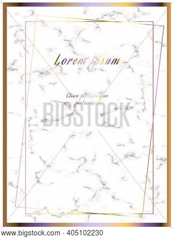 Marble Frame. White Marble Background With Gilding. Gold Frame. Place For Text. For Print And Web Pa