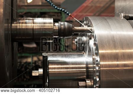 Machine For Drilling Large Metal Parts And Coolant. Drilling Rig Close-up