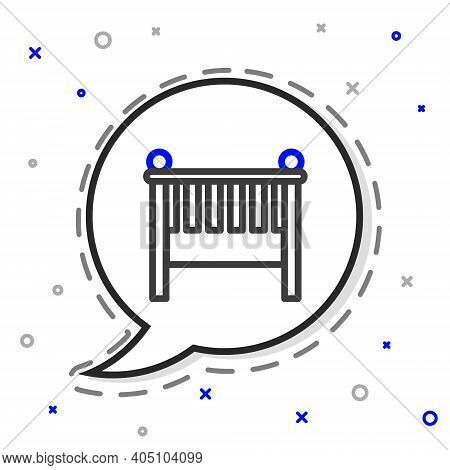 Line Baby Crib Cradle Bed Icon Isolated On White Background. Colorful Outline Concept. Vector Illust