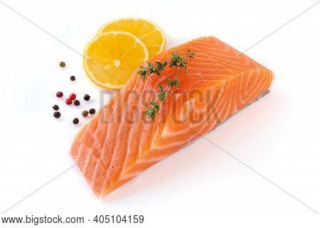 Fresh Raw Uncooked Salmon Fillet Slice Steak Isolated On White Backgroundwith Seasoning And Lemon, S