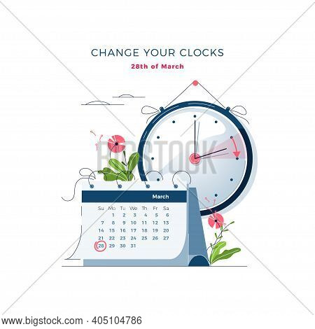 Daylight Saving Time Begins Concept. The Clocks Moves Forward One Hour. Calendar With Marked Date. D
