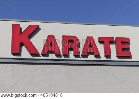 Karate Sign Above A Dojo. Karate Builds Stamina And Overall Health.