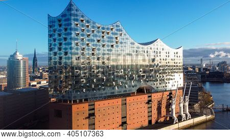 Famous Elbphilharmonie Concert Hall In Hamburg - Hamburg, Germany - December 25, 2020