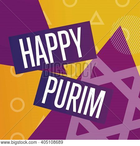 Happy Purim. Holiday Concept. Template For Background, Banner, Card, Poster With Text Inscription. V