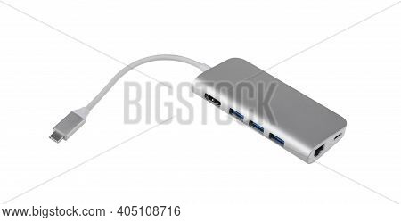 Tipe-c Aluminum Multi Port Adapter Isolated On White Background With Clipping Path.