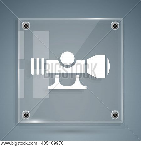 White Sniper Optical Sight Icon Isolated On Grey Background. Sniper Scope Crosshairs. Square Glass P