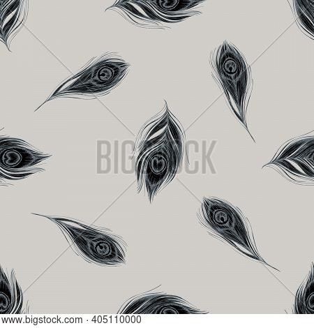 Seamless Pattern With Hand Drawn Stylized Peacock Feathers Stock Illustration