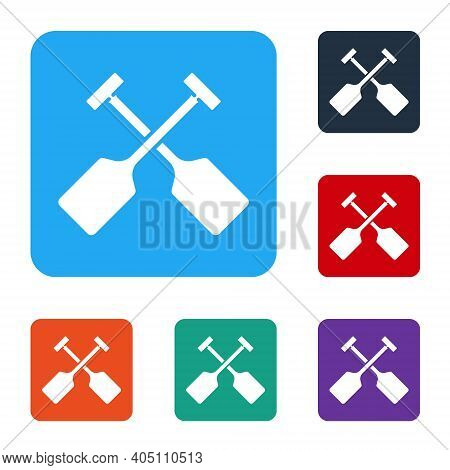 White Paddle Icon Isolated On White Background. Paddle Boat Oars. Set Icons In Color Square Buttons.