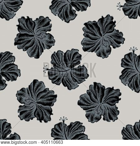 Seamless Pattern With Hand Drawn Stylized Hibiscus Stock Illustration