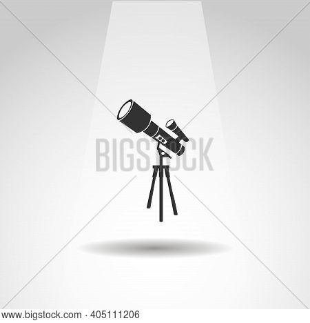Telescope Vector Icon, Simple Astronomical Telescope Icon