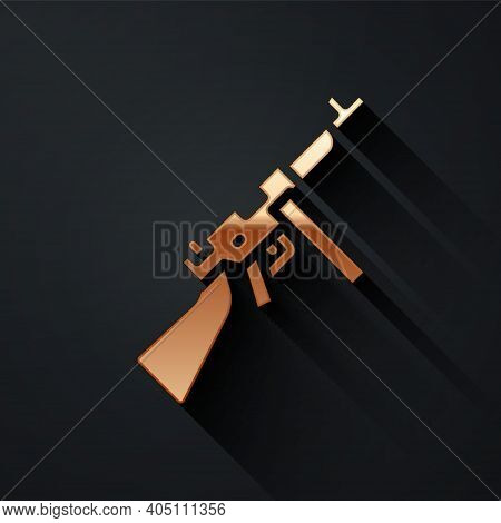 Gold Thompson Tommy Submachine Gun Icon Isolated On Black Background. American Submachine Gun. Long
