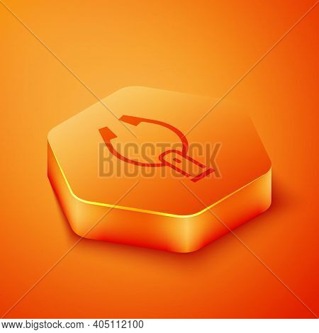 Isometric Meat Tongs Icon Isolated On Orange Background. Bbq Tongs Sign. Barbecue And Grill Tool. Or