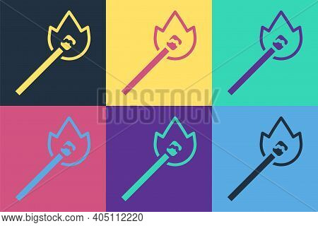 Pop Art Burning Match With Fire Icon Isolated On Color Background. Match With Fire. Matches Sign. Ve