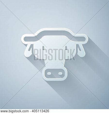 Paper Cut African Buffalo Head Icon Isolated On Grey Background. Mascot, African Savanna Animal. Wil