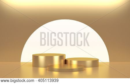 Three Golden Round Displays For Product. 3d Rendering